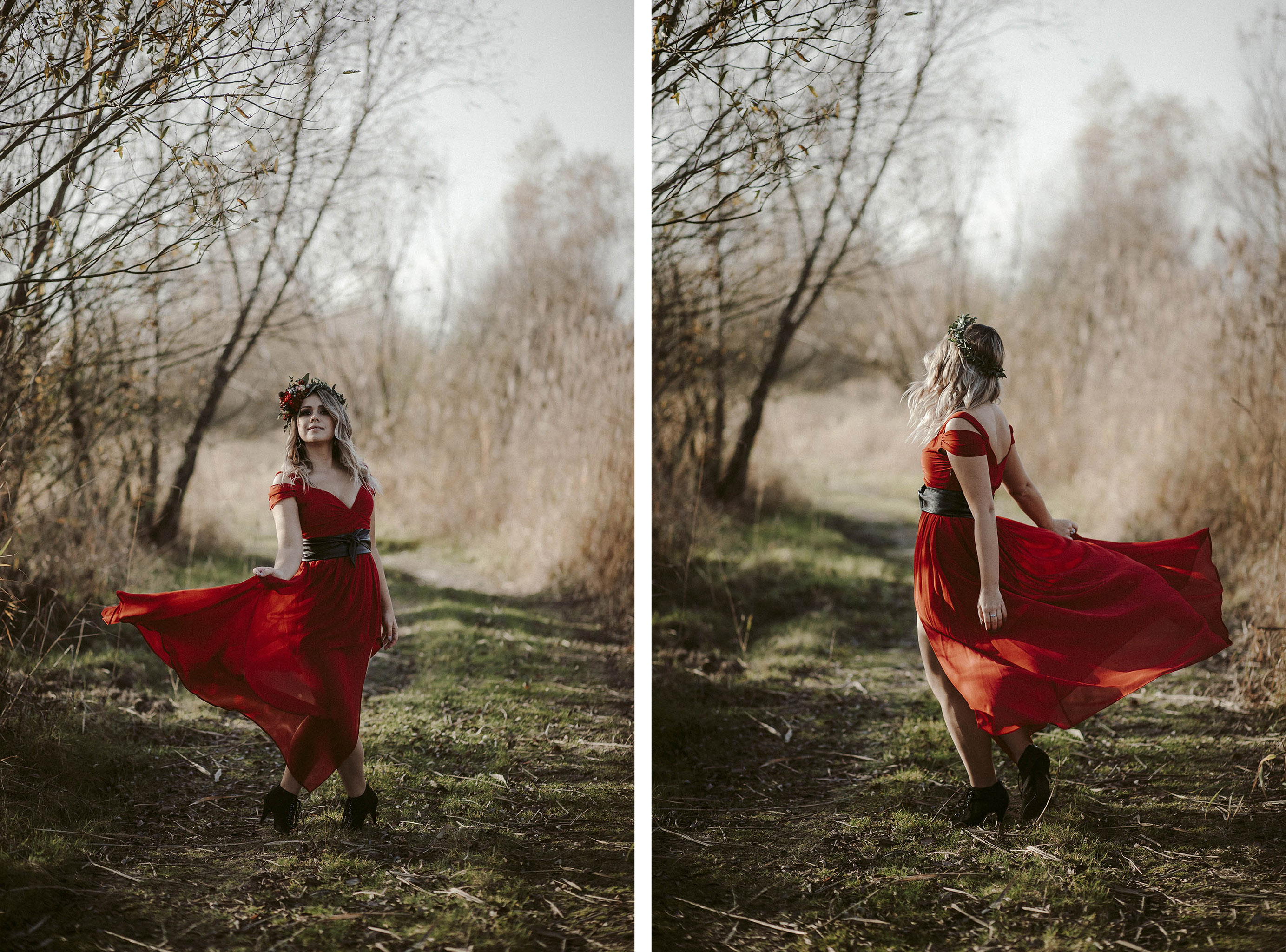 czerwona suknia slubna
